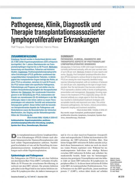 Pathogenese, Klinik, Diagnostik und Therapie...
