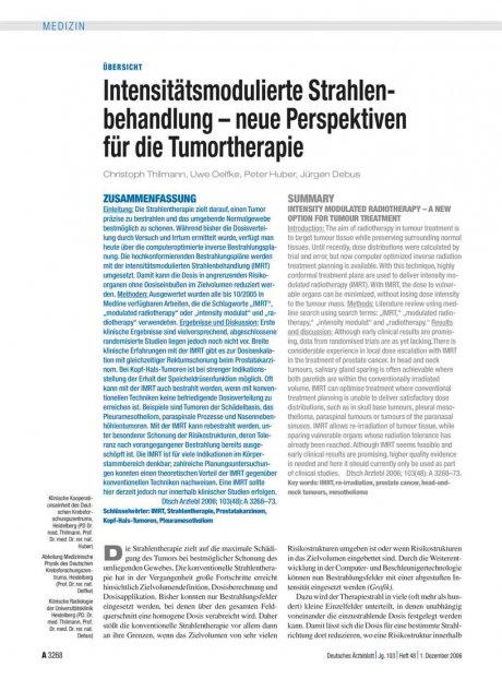 Intensitätsmodulierte Strahlenbehandlung – neue...