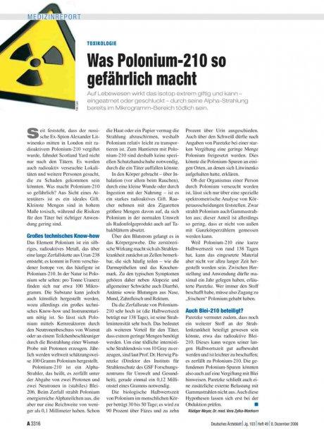 Toxikologie: Was Polonium-210 so gefährlich macht