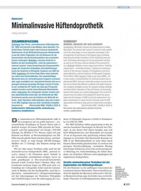 Minimalinvasive Hüftendoprothetik