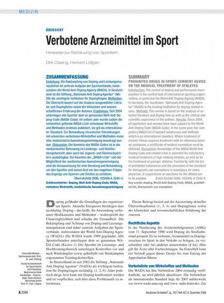 Verbotene Arzneimittel im Sport
