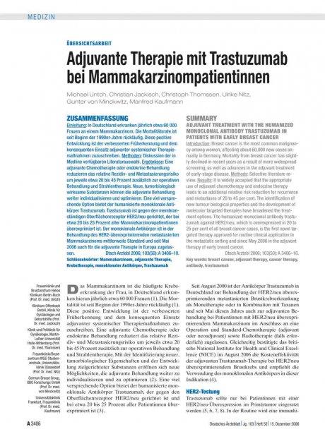 Adjuvante Therapie mit Trastuzumab bei...