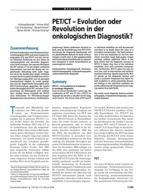 PET/CT – Evolution oder Revolution in der...