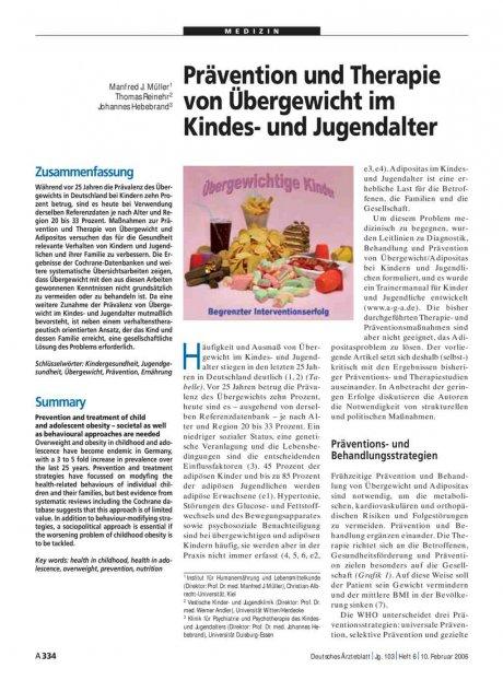 Prävention und Therapie von Übergewicht im Kindes-...