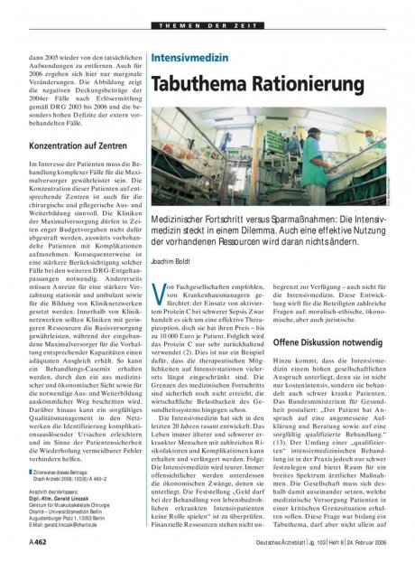 Intensivmedizin: Tabuthema Rationierung
