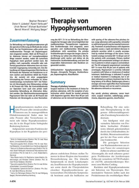 Therapie von Hypophysentumoren