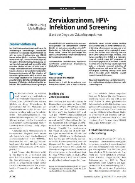 Zervixkarzinom, HPV-Infektion und Screening