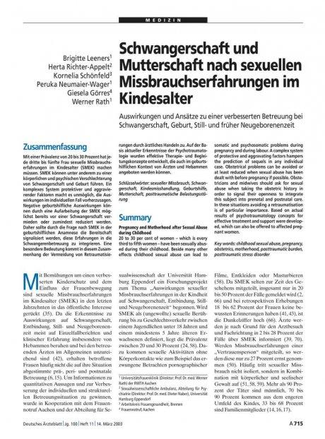 Schwangerschaft und Mutterschaft nach sexuellen...