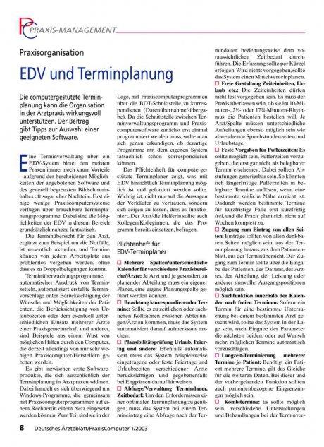 Praxisorganisation: EDV und Terminplanung