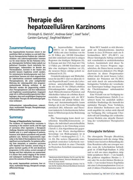 Therapie des hepatozellulären Karzinoms