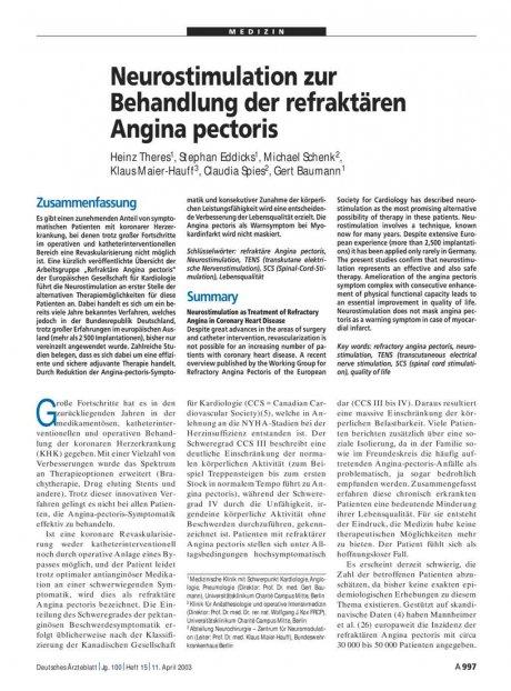 Neurostimulation zur Behandlung der refraktären...