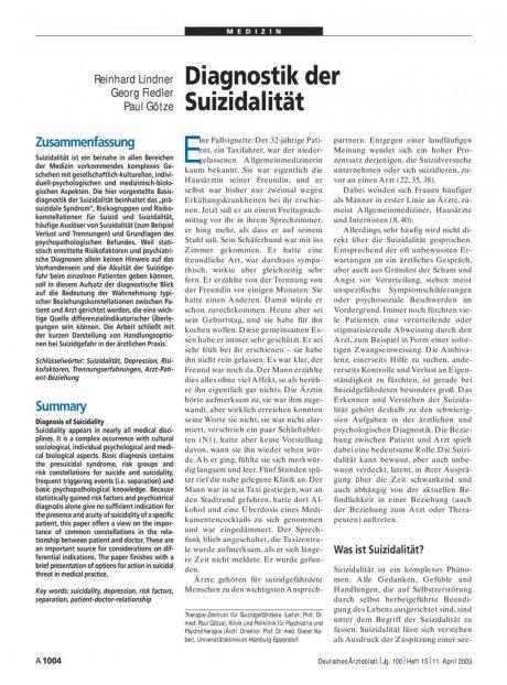 Diagnostik der Suizidalität