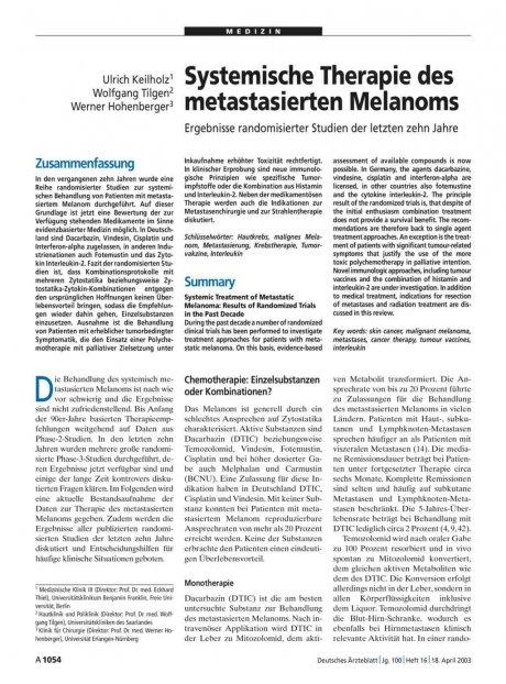 Systemische Therapie des metastasierten Melanoms