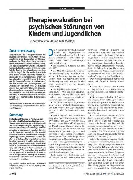Therapieevaluation bei psychischen Störungen von...