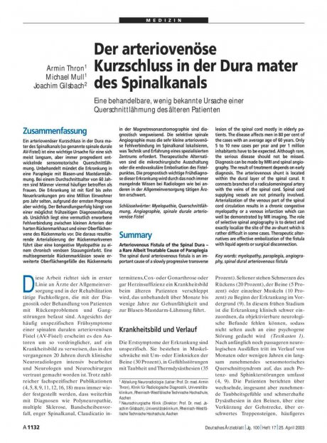 Der arteriovenöse Kurzschluss in der Dura mater...