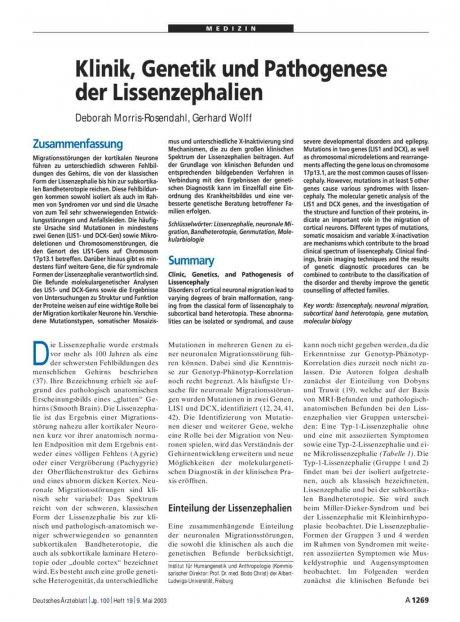 Klinik, Genetik und Pathogenese der...