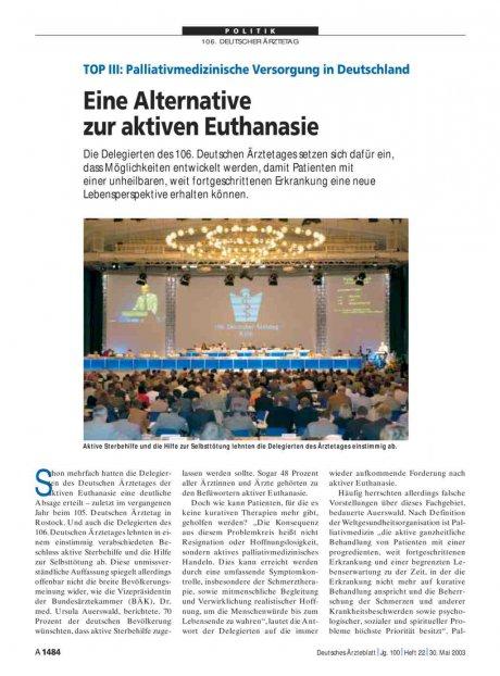 TOP III - Palliativmedizinische Versorgung in...