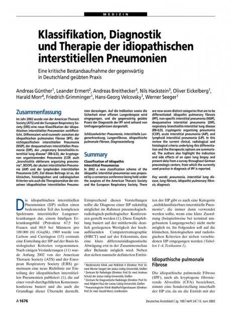 Klassifikation, Diagnostik und Therapie der...