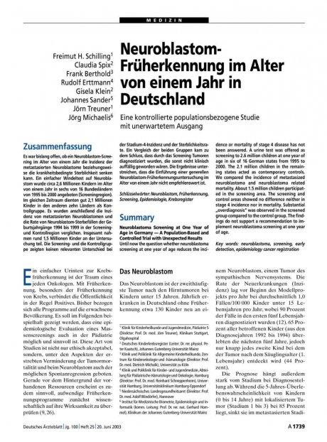 Neuroblastom-Früherkennung im Alter von einem Jahr...