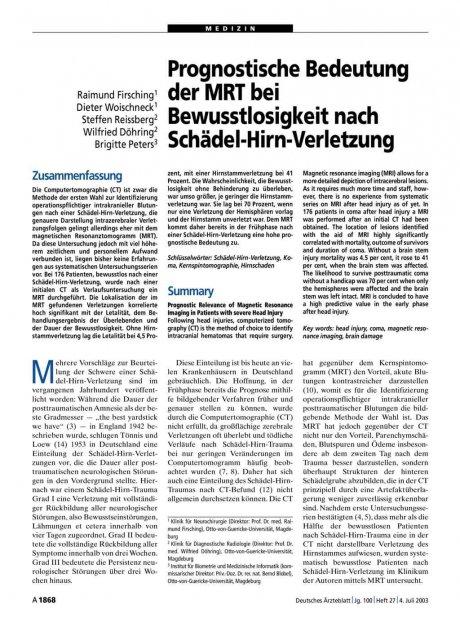 Prognostische Bedeutung der MRT bei...