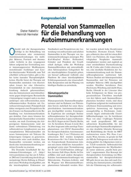 Potenzial von Stammzellen für die Behandlung von...
