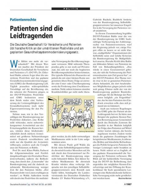 Patientenrechte: Patienten sind die Leidtragenden
