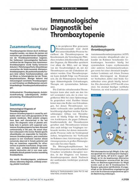 Immunologische Diagnostik bei Thrombozytopenie