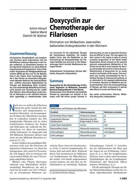 Doxycyclin zur Chemotherapie der Filariosen
