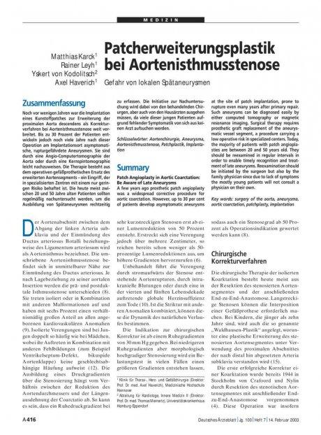 Patcherweiterungsplastik bei Aortenisthmusstenose