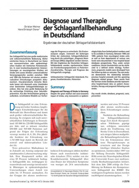 Diagnose und Therapie der Schlaganfallbehandlung...