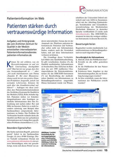 Patienteninformation im Web