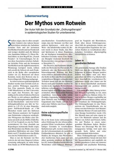 Lebenserwartung: Der Mythos vom Rotwein