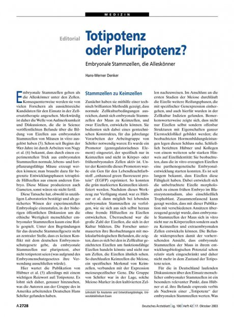 Totipotenz oder Pluripotenz? Embryonale...