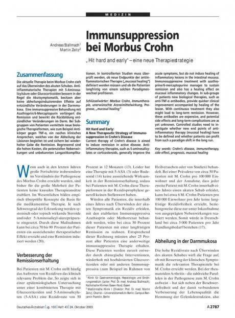 Immunsuppression bei Morbus Crohn
