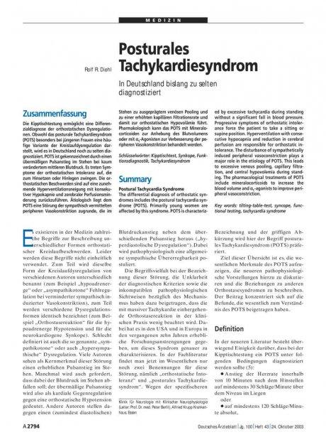 Posturales Tachykardiesyndrom