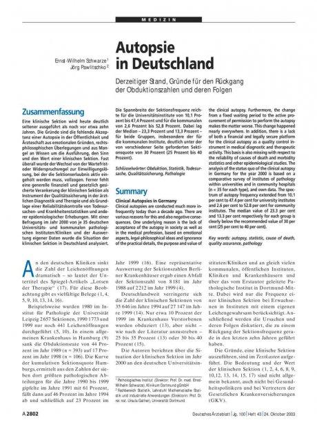 Autopsie in Deutschland