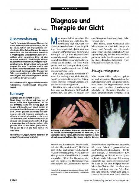 Diagnose und Therapie der Gicht
