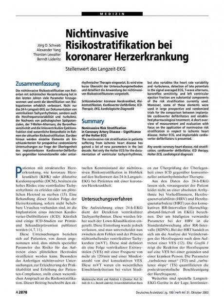 Nichtinvasive Risikostratifikation bei koronarer...
