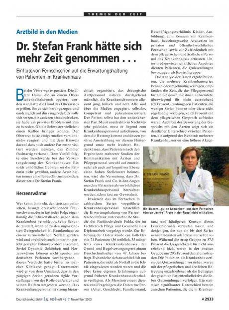 Arztbild in den Medien
