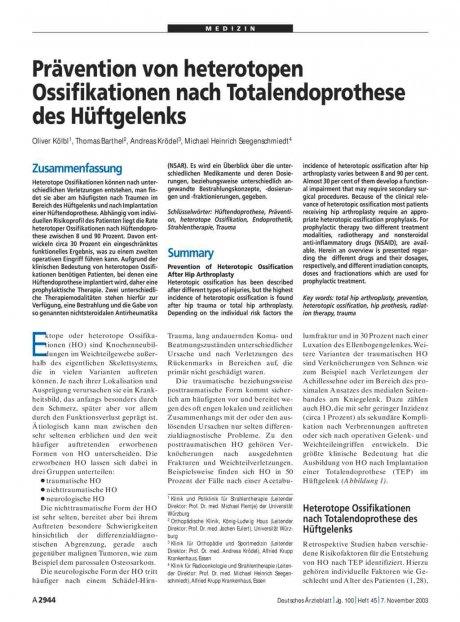 Prävention von heterotopen Ossifikationen nach...