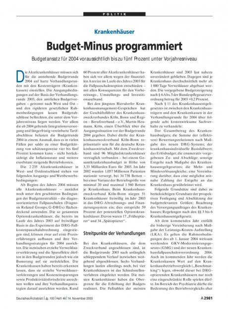 Krankenhäuser: Budget-Minus programmiert