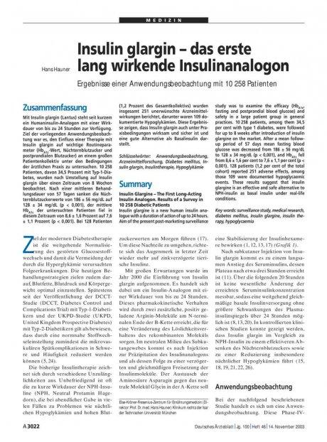 Insulin glargin – das erste lang wirkende...