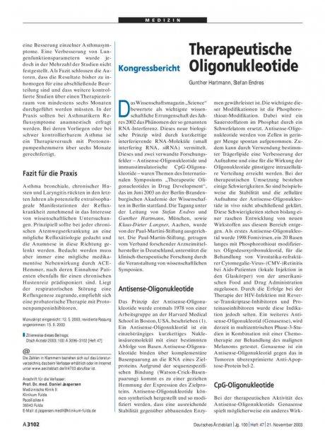 Therapeutische Oligonukleotide