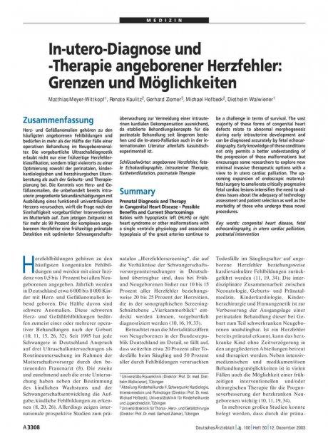 In-utero-Diagnose und -Therapie angeborener...