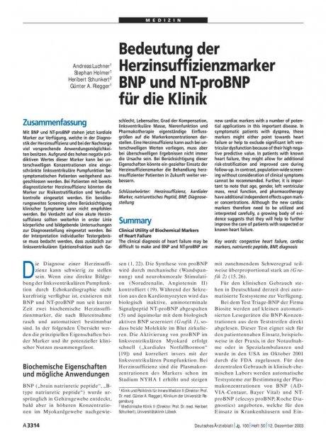 Bedeutung der Herzinsuffizienzmarker BNP und...