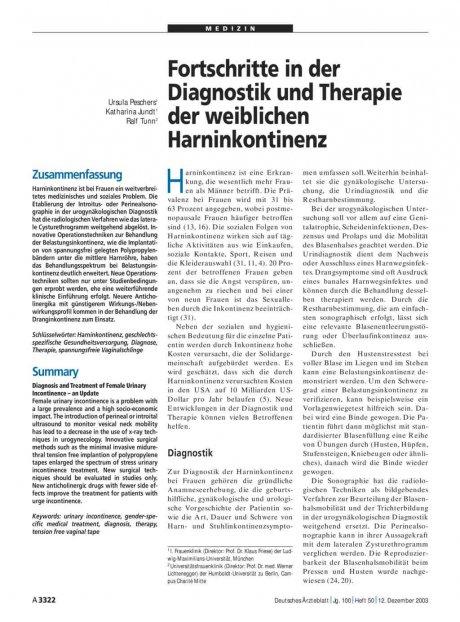 Fortschritte in der Diagnostik und Therapie der...