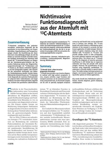 Nichtinvasive Funktionsdiagnostik aus der Atemluft...