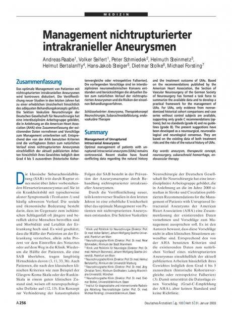 Management nichtrupturierter intrakranieller...