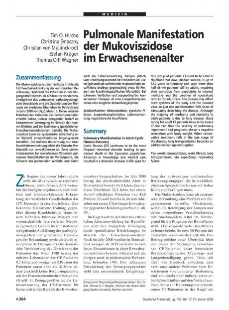 Pulmonale Manifestation der Mukoviszidose im...