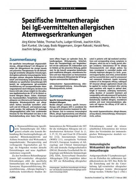 Spezifische Immuntherapie bei IgE-vermittelten...